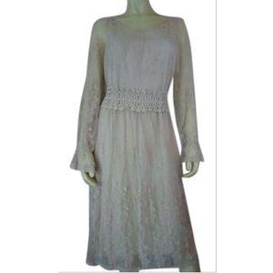 Pinky Dress L Beige Lace Crochet Waist NylonCotton